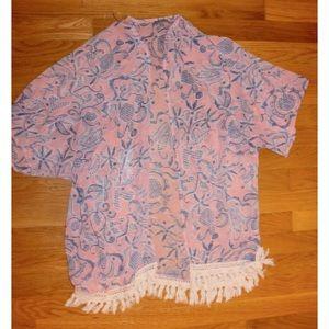pink & blue lightweight kimono shawl w/ fringe